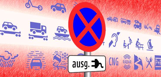 Tern Symbole für österreichische Verkehrsbeschilderung übernommen